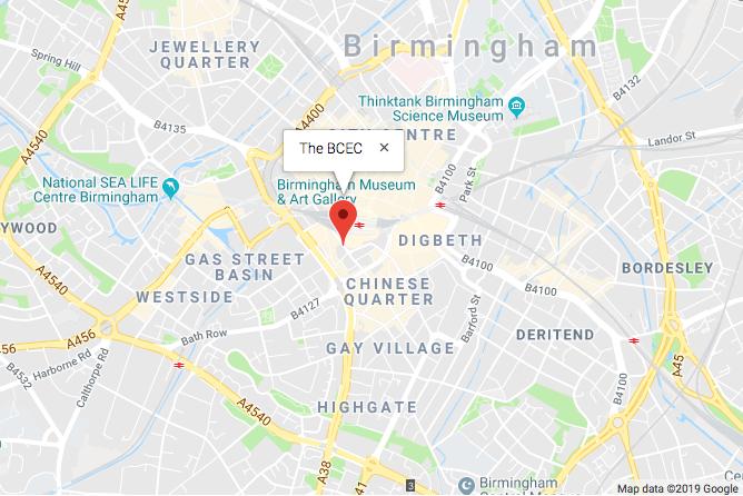 map to Birmingham BCEC